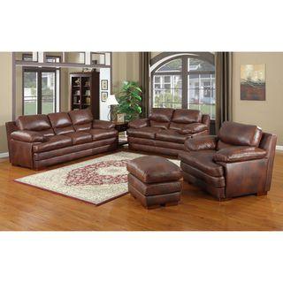 Baron Brown Leather Sofa Set