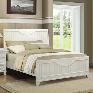 Alderson Cottage White Beadboard Crescent Shaped Queen size Bed