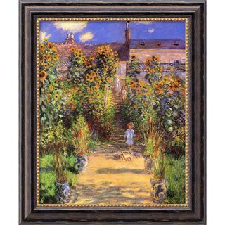 Claude Monet The Artists Garden at Vetheuil, 1880 Framed Canvas Art