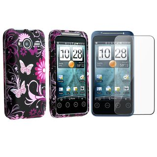 Pink Butterfly Rubber Coated Case/ Screen Protector HTC EVO Shift 4G