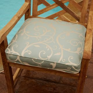 Clara Blue/ Beige Swirl 19 inch Square Outdoor Chair Cushion