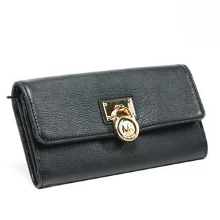 MICHAEL Michael Kors Hamilton Large Black Leather Flap Wallet