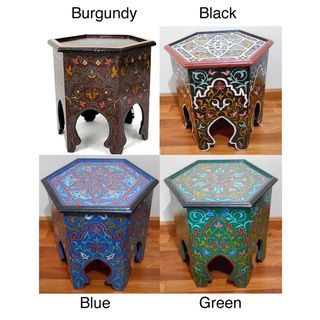 Handpainted Burgundy Arabesque II Wooden End Table (Morocco