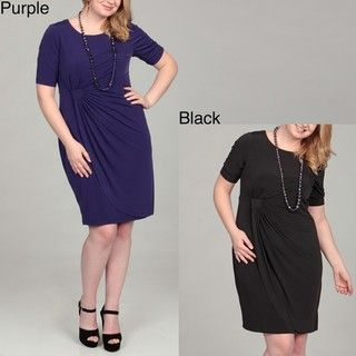 Connected Apparel Womens Plus Size Side drape Jersey Dress