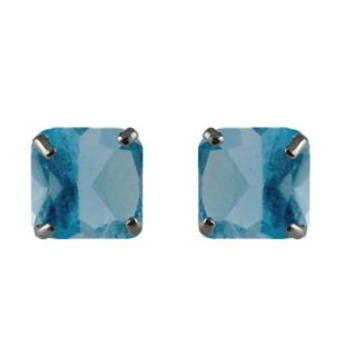 10k White Gold Cushion cut Blue Topaz Stud Earrings