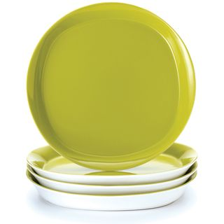 Rachael Ray Round and Square 4 piece Green Apple Dinner Plate Set