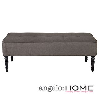 angeloHOME Brighton Hill Parisian Smoky Gray Velvet Large Bench