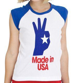 American Apparel Girls Made in USA Screen print Raglan Cotton Tee
