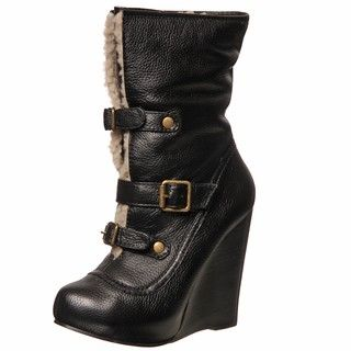 Betsey Johnson Womens Ryderrr Wedge Buckle Boots