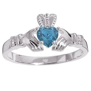 Sterling Silver Birthstone colored Crystal Claddagh Ring