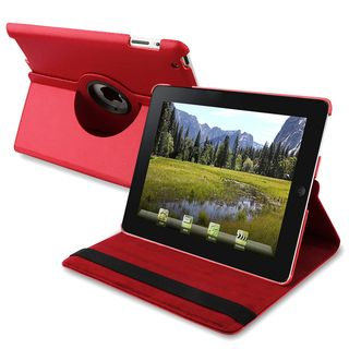 Red Swivel Leather Case Stand for Apple iPad 2