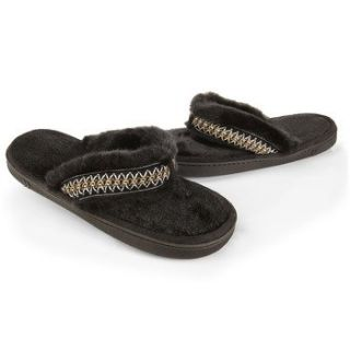 ISOTONER Womens Woodlands Fur Chukka Thong Slippers: Shoes
