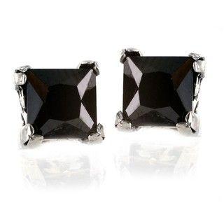 Stainless Steel Square Black Cubic Zirconia Stud Earrings