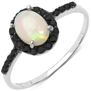 Malaika Sterling Silver Ethiopian Opal and 1/4ct TDW Black Diamond