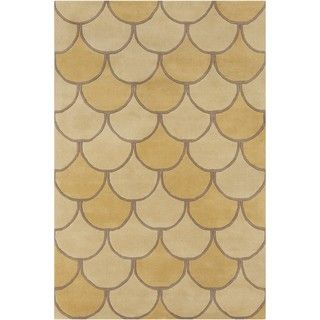 Allie Handmade Abstract Yellow Wool Rug (5 x 76)