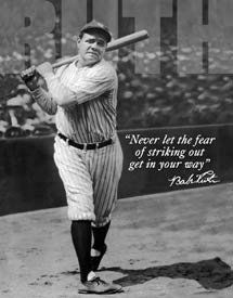 Tin Sign   Babe Ruth Baseball   No Fear