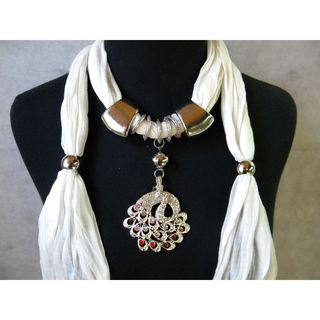 Jewelry Scarf with Multi Color Peacock Pendant