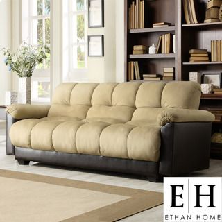 ETHAN HOME Bento Klic Klac Peat Microfiber Futon Sofa Bed