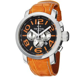 TW Steel Mens Grandeur Black Dial Orange Leather Strap Quartz Watch