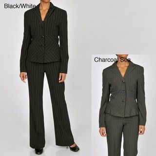 Signature by Larry Levine Womens Pinstripe Pant Suit