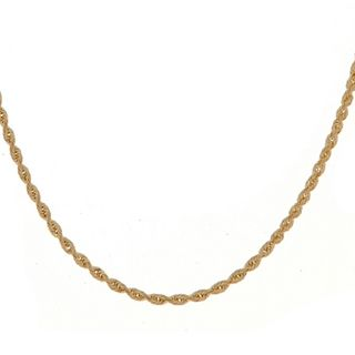 Roberto Martinez 14k Yellow Gold Diamond Cut Rope Chain Necklace (1 mm