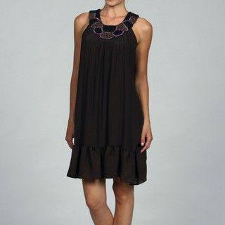 Tiana B Womens Solid Linen Trapeze Neck Detail Dress