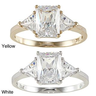 14k Yellow or White Solid Gold 2ct TGW Radiant and Triangles cut Cubic