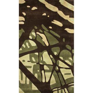 Handmade Europa Collection Green Paint Splash Rug (5 x 8