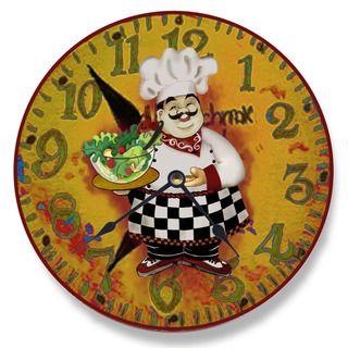 Italian Chef with Salad Wall Clock