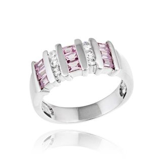Icz Stonez Sterling Silver Pink & White CZ Ring