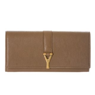 Yves Saint Laurent ChYc Large Taupe Leather Wallet