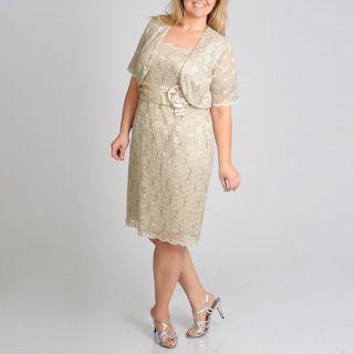 Richards Womens Plus 2fer Sequin Lace Evening Dress