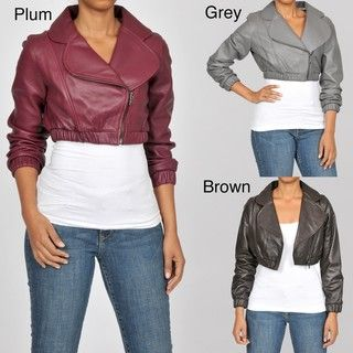 Knoles & Carter Womens Leather Bolero Bomber Jacket