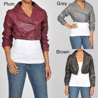 Knoles & Carter Womens Leather Bolero Bomber Jacket