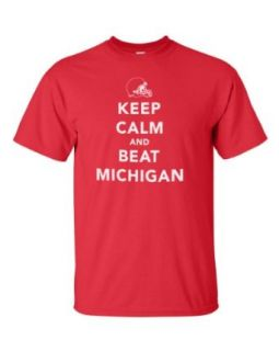 Keep Calm and Beat Michigan. Red T shirt. Go OHIO