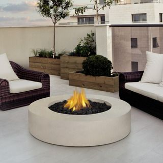 Real Flame Mezzo Round Antique White Fire Table