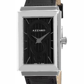 Azzaro Mens Legend Rectangular Black Strap Watch
