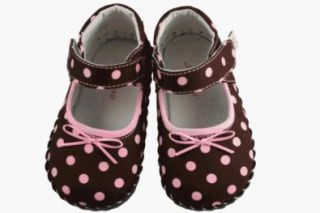 Baby Mary Janes Shoes Brown Pink Polka Dot, Small (6 12 Months) Shoes