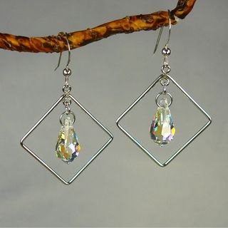 Jewelry by Dawn Diamond Shaped Crystal Sterling Silver Earrings