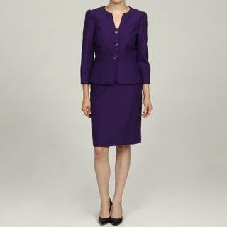 Tahari Womens Purple 3 button Jacquard Skirt Suit