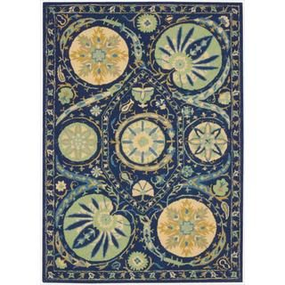 Hand tufted Suzani Blue Floral Medallion Rug (26 x 4)