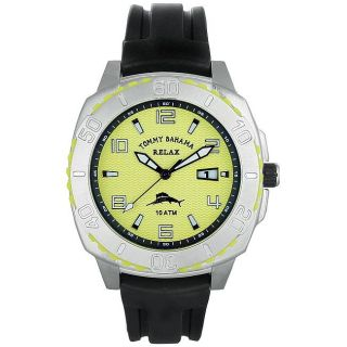 Tommy Bahama Mens Yellow Casual Rubber Strap Watch