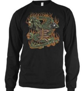 Flaming Dragon Mens Tattoo Thermal Shirt, Old School