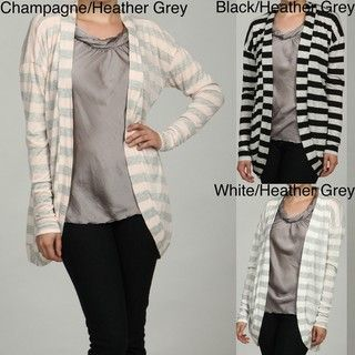 Sweet Romeo Womens Striped Open Cardigan