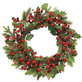 Good Tidings 26 inch Pine Holly Cones and Berries Wreath