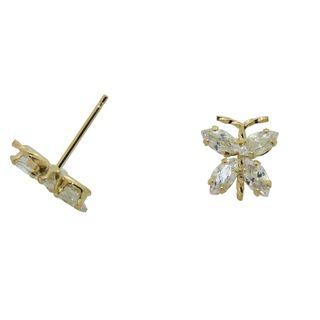 14k Gold Cubic Zirconia Butterfly Earrings