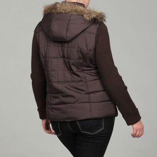 Dollhouse Womens Plus Size Brown Faux Fur Jacket