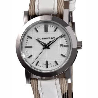 Burberry Womens Nova Check White Leather Strap Watch