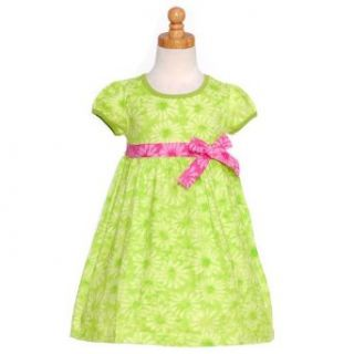 Toddler Little Girls Green Floral Cap Sleeve w/ Bow Summer