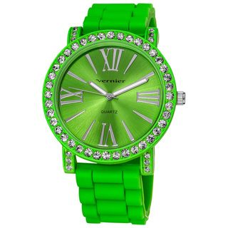 Vernier Ladies Oversized Crystal Bezel Green Silicone Quartz Watch